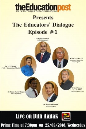 "Prof. Suresh Advani, Dean COBMEC, had represented the Mody University in ""The Educators' Dialogue"" which was organized by ""The Education Post"""