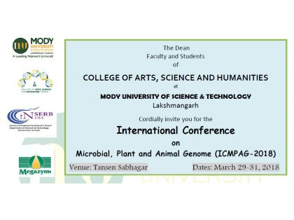 International Conference on Microbial, Plant and Animal Genome to be organised at Mody University from tomorrow.
